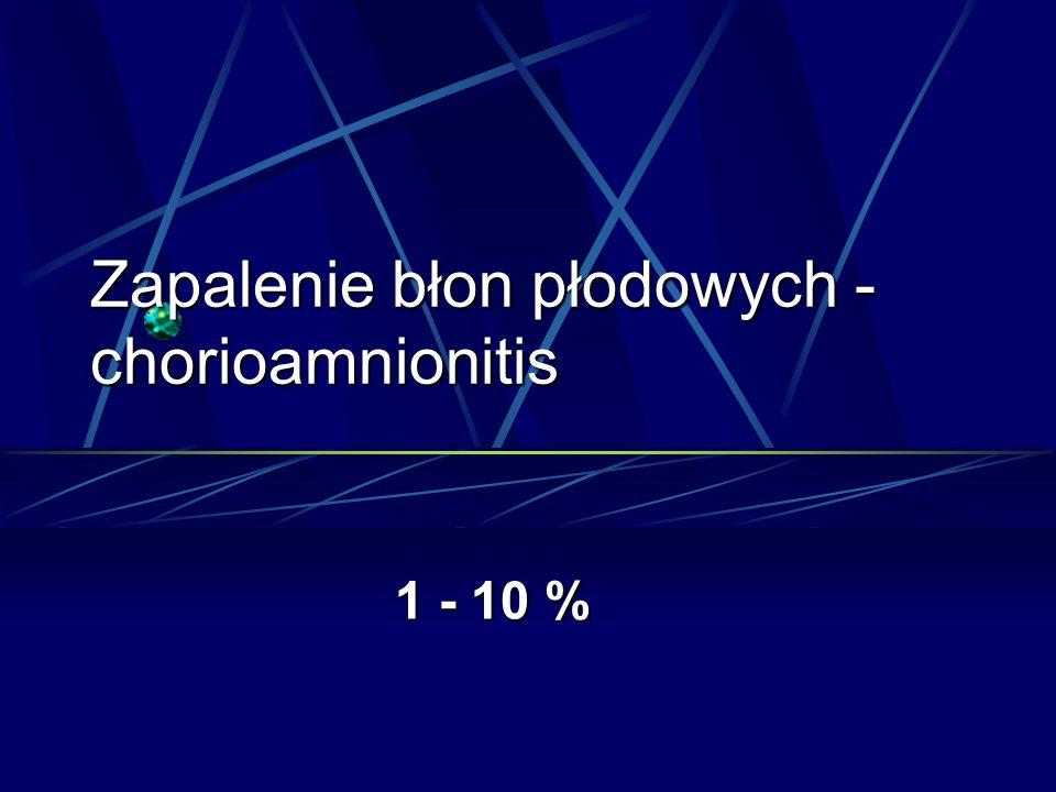 Zapalenie błon płodowych - chorioamnionitis 1 - 10 %
