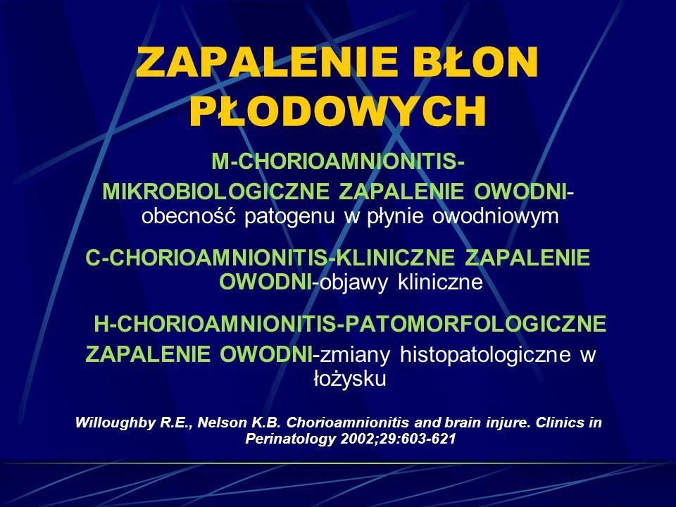 ZAPALENIE BŁON PŁODOWYCH M-CHORIOAMNIONITIS- MIKROBIOLOGICZNE ZAPALENIE OWODNI- obecność patogenu w płynie owodniowym C-CHORIOAMNIONITIS-KLINICZNE ZAPALENIE OWODNI-objawy kliniczne H-CHORIOAMNIONITIS-PATOMORFOLOGICZNE ZAPALENIE OWODNI-zmiany histopatologiczne w łożysku Willoughby R.E., Nelson K.B.