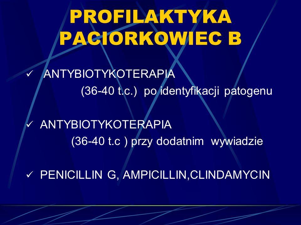 PROFILAKTYKA PACIORKOWIEC B ANTYBIOTYKOTERAPIA (36-40 t.c.) po identyfikacji patogenu ANTYBIOTYKOTERAPIA (36-40 t.c ) przy dodatnim wywiadzie PENICILLIN G, AMPICILLIN,CLINDAMYCIN