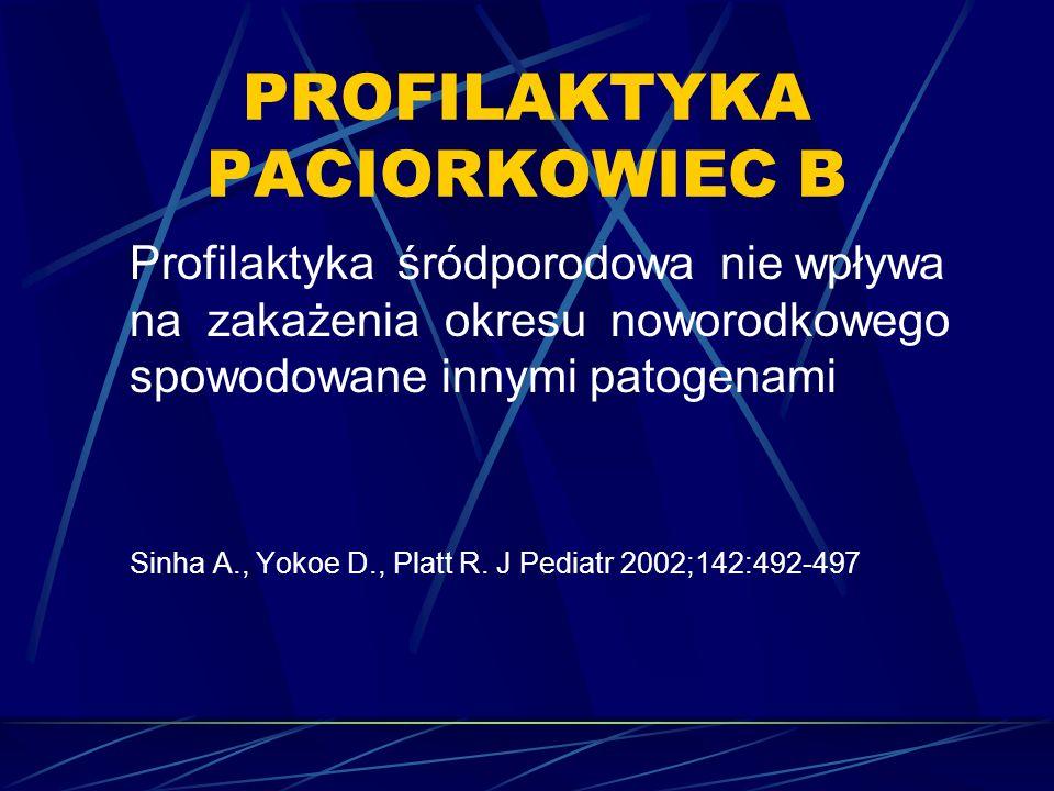 PROFILAKTYKA PACIORKOWIEC B Profilaktyka śródporodowa nie wpływa na zakażenia okresu noworodkowego spowodowane innymi patogenami Sinha A., Yokoe D., Platt R.