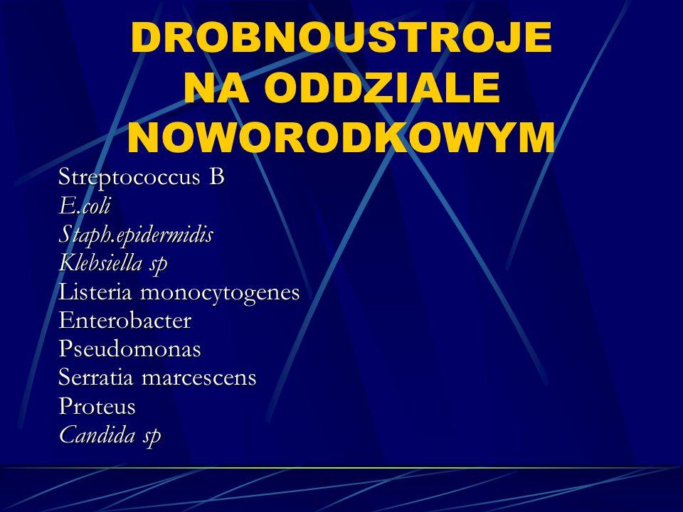 DROBNOUSTROJE NA ODDZIALE NOWORODKOWYM Streptococcus B E.coliStaph.epidermidis Klebsiella sp Listeria monocytogenes EnterobacterPseudomonas Serratia marcescens Proteus Candida sp