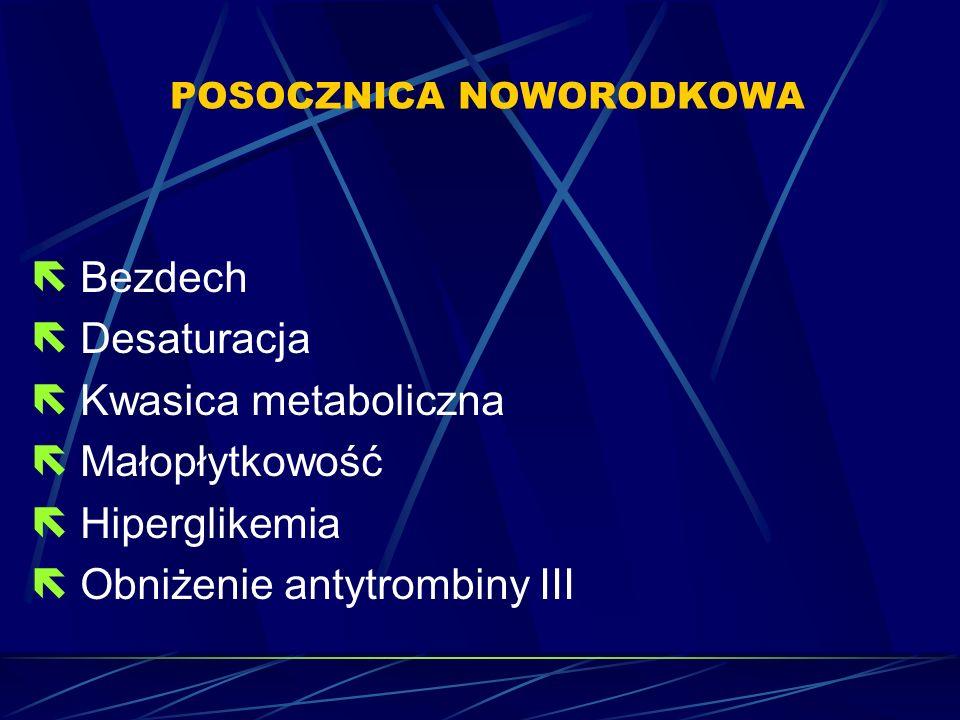 POSOCZNICA NOWORODKOWA  Bezdech  Desaturacja  Kwasica metaboliczna  Małopłytkowość  Hiperglikemia  Obniżenie antytrombiny III