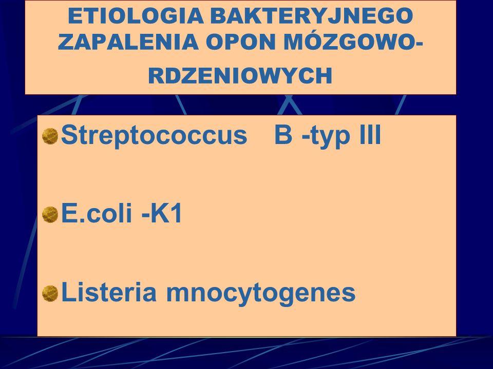 Streptococcus B -typ III E.coli-K1 Listeria mnocytogenes ETIOLOGIA BAKTERYJNEGO ZAPALENIA OPON MÓZGOWO- RDZENIOWYCH