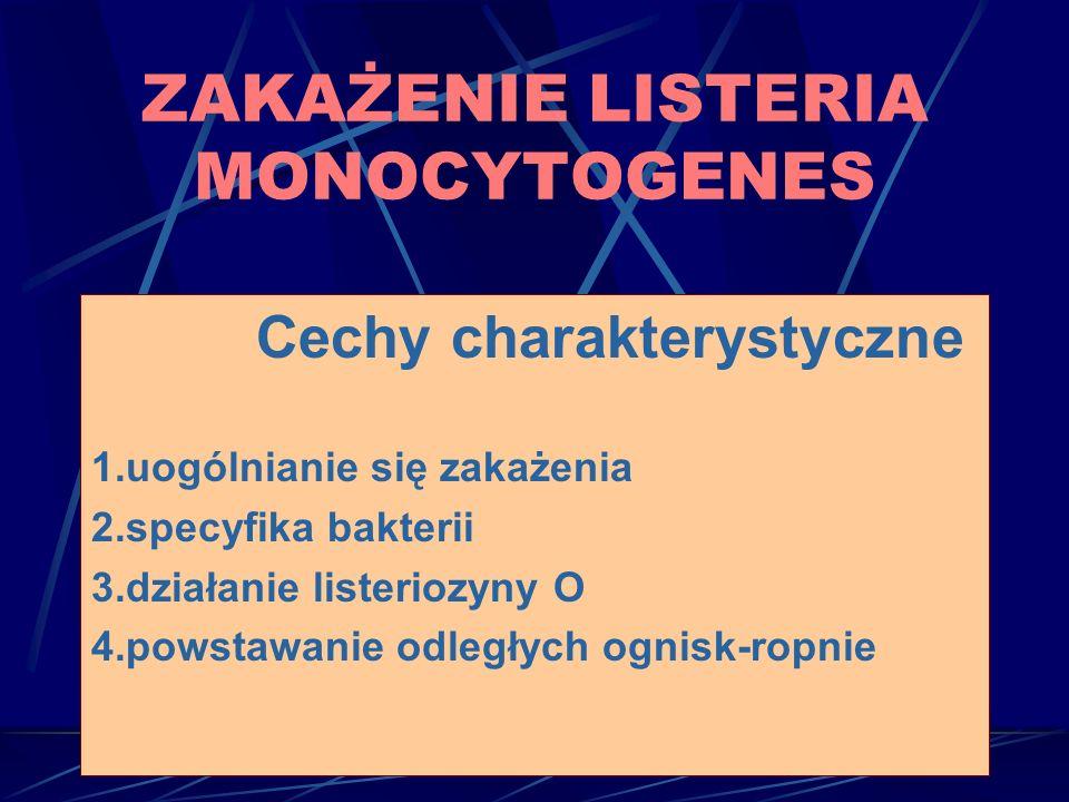 Cechy charakterystyczne 1.uogólnianie się zakażenia 2.specyfika bakterii 3.działanie listeriozyny O 4.powstawanie odległych ognisk-ropnie ZAKAŻENIE LISTERIA MONOCYTOGENES