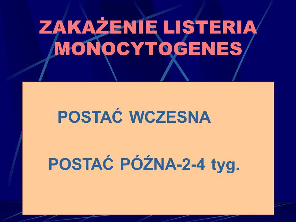 POSTAĆ WCZESNA POSTAĆ PÓŹNA-2-4 tyg. ZAKAŻENIE LISTERIA MONOCYTOGENES