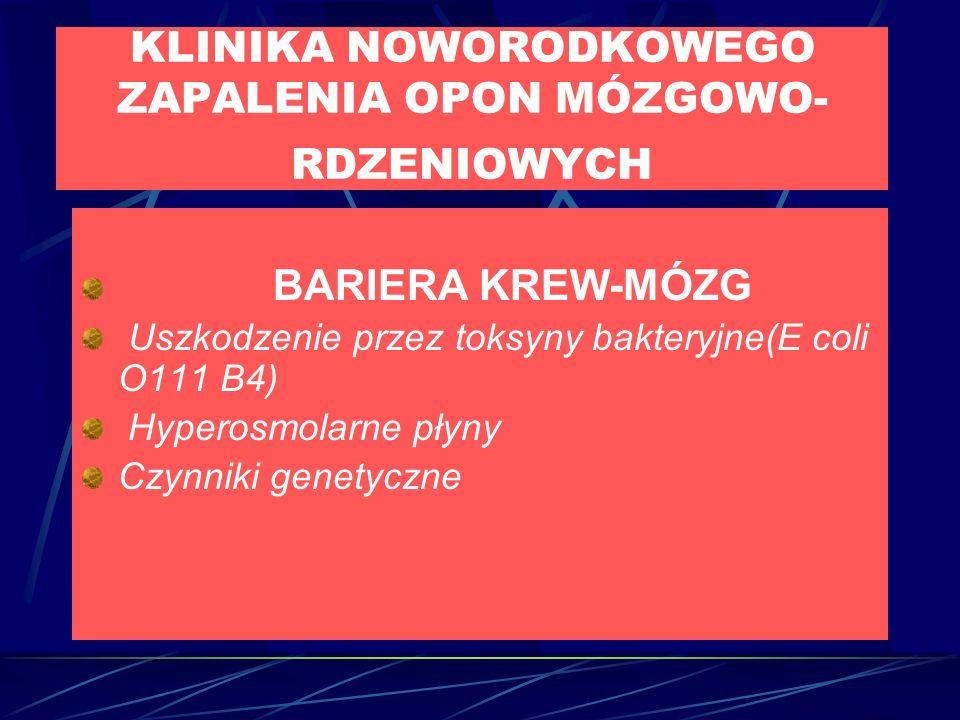 KLINIKA NOWORODKOWEGO ZAPALENIA OPON MÓZGOWO- RDZENIOWYCH BARIERA KREW-MÓZG Uszkodzenie przez toksyny bakteryjne(E coli O111 B4) Hyperosmolarne płyny Czynniki genetyczne