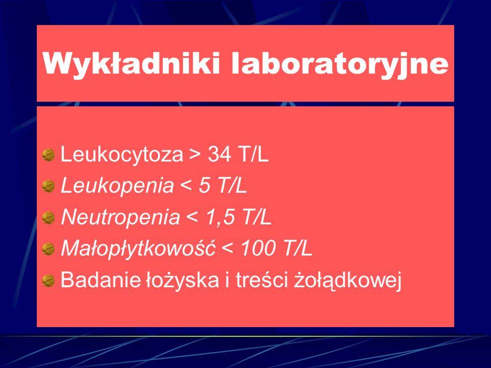Wykładniki laboratoryjne Leukocytoza > 34 T/L Leukopenia < 5 T/L Neutropenia < 1,5 T/L Małopłytkowość < 100 T/L Badanie łożyska i treści żołądkowej