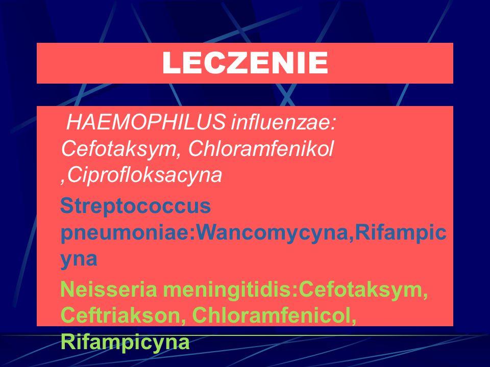 LECZENIE HAEMOPHILUS influenzae: Cefotaksym, Chloramfenikol,Ciprofloksacyna Streptococcus pneumoniae:Wancomycyna,Rifampic yna Neisseria meningitidis:Cefotaksym, Ceftriakson, Chloramfenicol, Rifampicyna