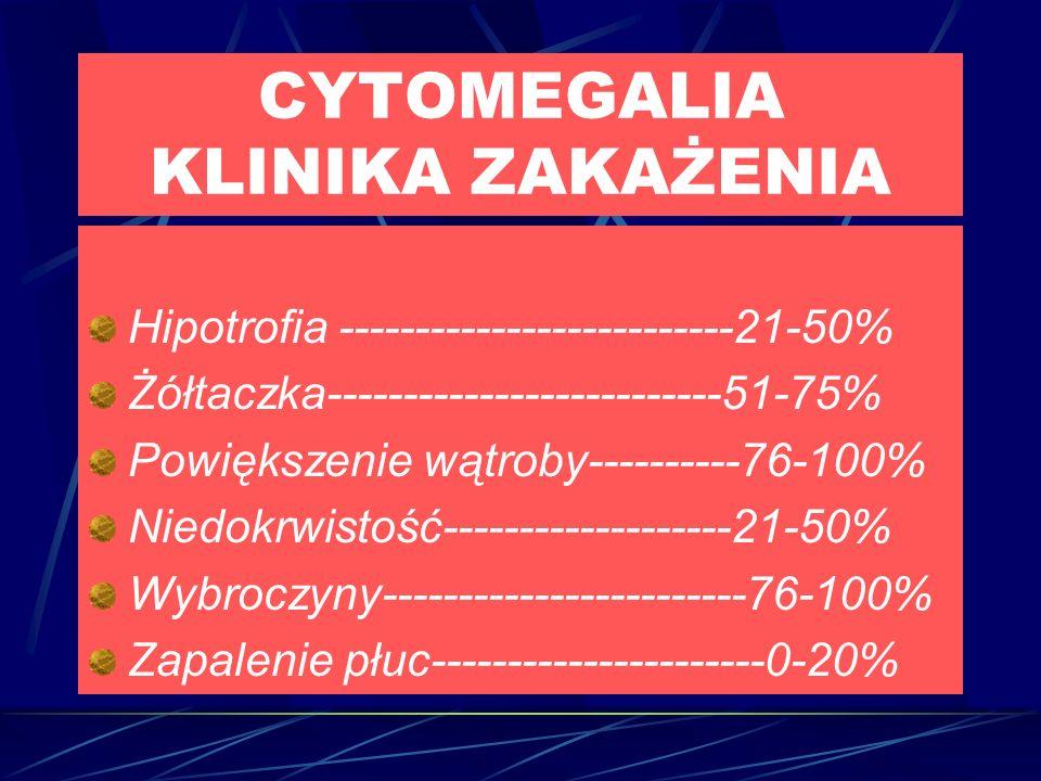 CYTOMEGALIA KLINIKA ZAKAŻENIA Hipotrofia --------------------------21-50% Żółtaczka--------------------------51-75% Powiększenie wątroby----------76-100% Niedokrwistość-------------------21-50% Wybroczyny------------------------76-100% Zapalenie płuc----------------------0-20%