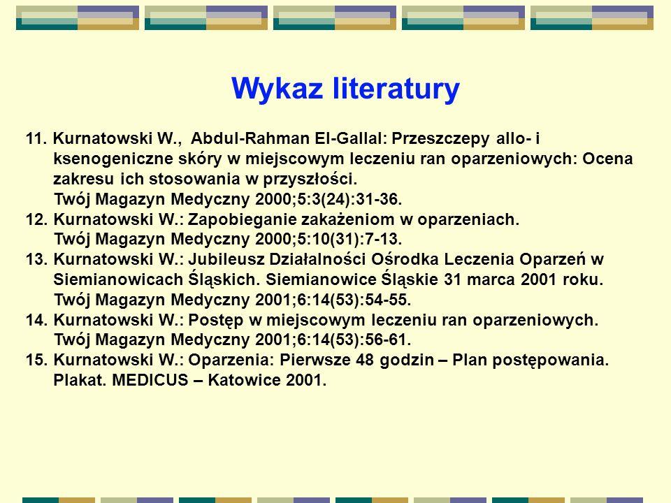 11. Kurnatowski W., Abdul-Rahman El-Gallal: Przeszczepy allo- i ksenogeniczne skóry w miejscowym leczeniu ran oparzeniowych: Ocena zakresu ich stosowa