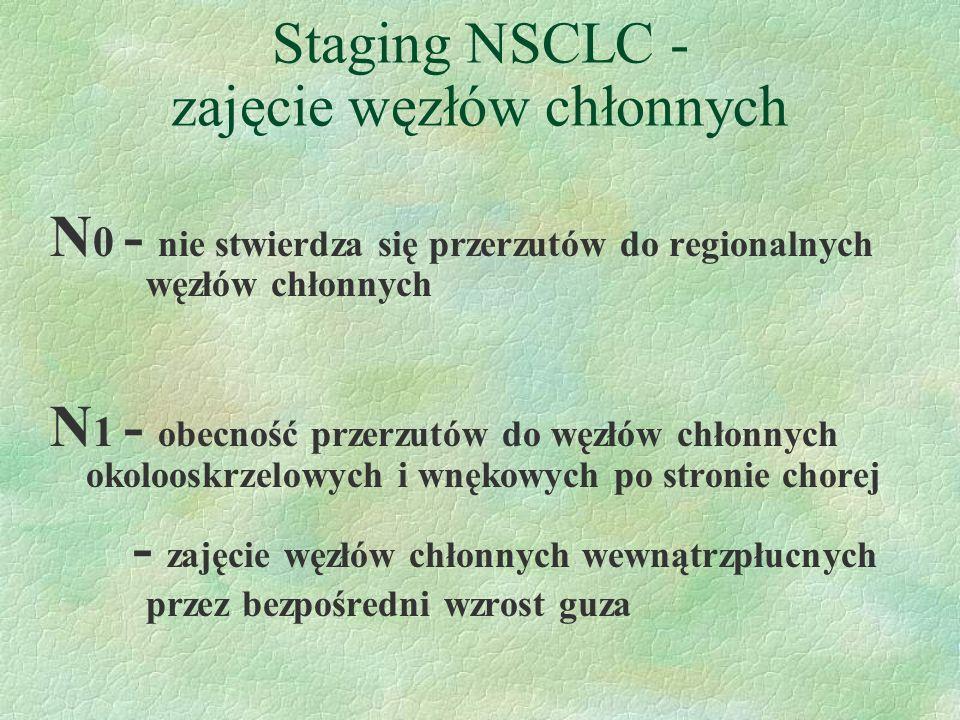 Staging NSCLC - zajęcie węzłów chłonnych N 0 - nie stwierdza się przerzutów do regionalnych węzłów chłonnych N 1 - obecność przerzutów do węzłów chłonnych okolooskrzelowych i wnękowych po stronie chorej - zajęcie węzłów chłonnych wewnątrzpłucnych przez bezpośredni wzrost guza