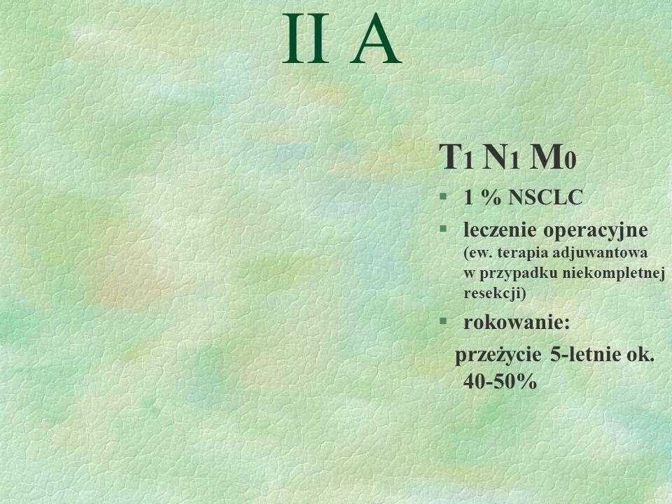 II A T 1 N 1 M 0 §1 % NSCLC §leczenie operacyjne (ew.