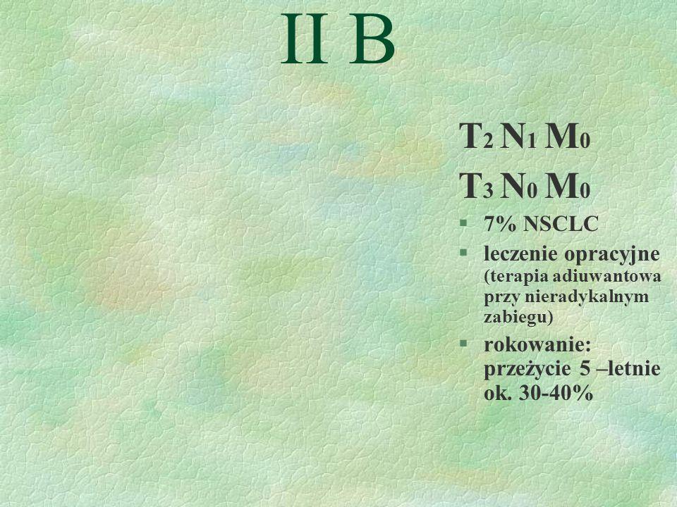 II B T 2 N 1 M 0 T 3 N 0 M 0 §7% NSCLC §leczenie opracyjne (terapia adiuwantowa przy nieradykalnym zabiegu) §rokowanie: przeżycie 5 –letnie ok.