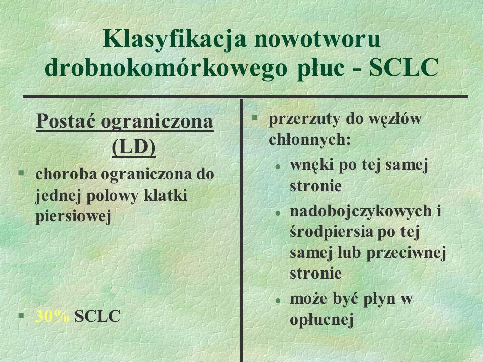 Klasyfikacja nowotworu drobnokomórkowego płuc - SCLC Postać ograniczona (LD) §choroba ograniczona do jednej polowy klatki piersiowej §30% SCLC §przerzuty do węzłów chłonnych: l wnęki po tej samej stronie l nadobojczykowych i środpiersia po tej samej lub przeciwnej stronie l może być płyn w opłucnej