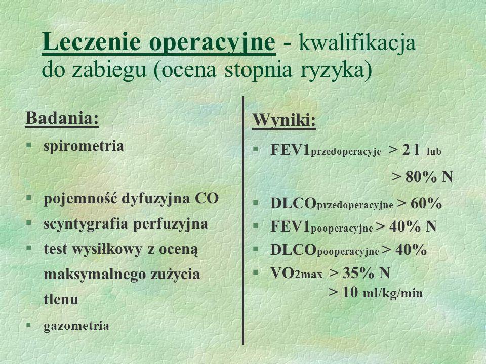 Leczenie operacyjne - kwalifikacja do zabiegu (ocena stopnia ryzyka) Badania: §spirometria §pojemność dyfuzyjna CO §scyntygrafia perfuzyjna §test wysiłkowy z oceną maksymalnego zużycia tlenu §gazometria Wyniki: §FEV1 przedoperacyje > 2 l lub > 80% N §DLCO przedoperacyjne > 60% §FEV1 pooperacyjne > 40% N §DLCO pooperacyjne > 40% §VO 2max > 35% N > 10 ml/kg/min