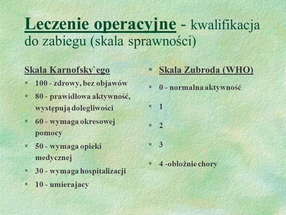 Leczenie operacyjne - kwalifikacja do zabiegu (skala sprawności) Skala Karnofsky`ego §100 - zdrowy, bez objawów §80 - prawidłowa aktywność, występują dolegliwości §60 - wymaga okresowej pomocy §50 - wymaga opieki medycznej §30 - wymaga hospitalizacji §10 - umierajacy §Skala Zubroda (WHO) §0 - normalna aktywność §1 §2 §3 §4 -obłożnie chory