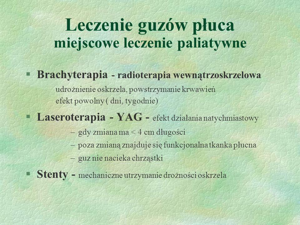 Leczenie guzów płuca miejscowe leczenie paliatywne §Brachyterapia - radioterapia wewnątrzoskrzelowa udrożnienie oskrzela, powstrzymanie krwawień efekt powolny ( dni, tygodnie) §Laseroterapia - YAG- efekt działania natychmiastowy –gdy zmiana ma < 4 cm długości –poza zmianą znajduje się funkcjonalna tkanka płucna –guz nie nacieka chrząstki §Stenty - mechaniczne utrzymanie drożności oskrzela