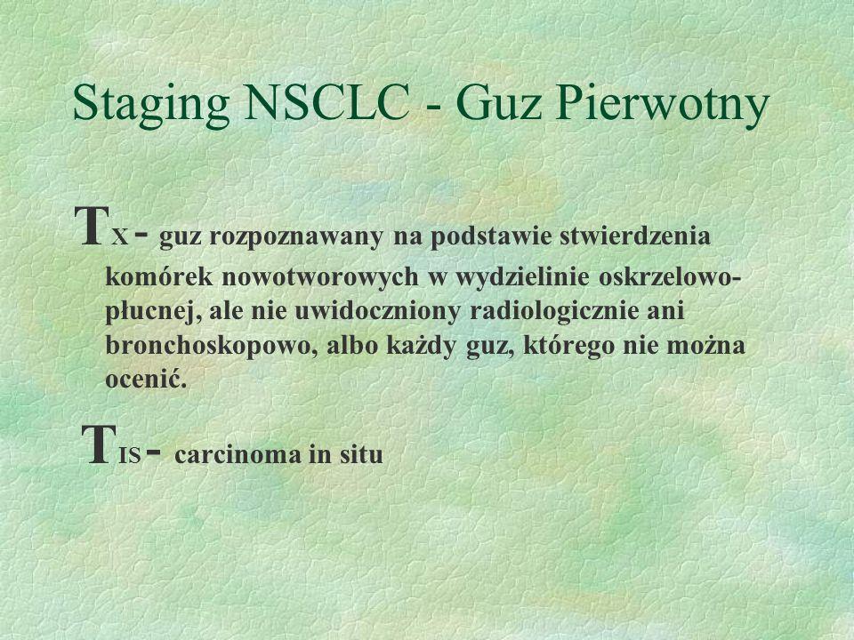 Staging NSCLC - Guz Pierwotny T X - guz rozpoznawany na podstawie stwierdzenia komórek nowotworowych w wydzielinie oskrzelowo- płucnej, ale nie uwidoczniony radiologicznie ani bronchoskopowo, albo każdy guz, którego nie można ocenić.