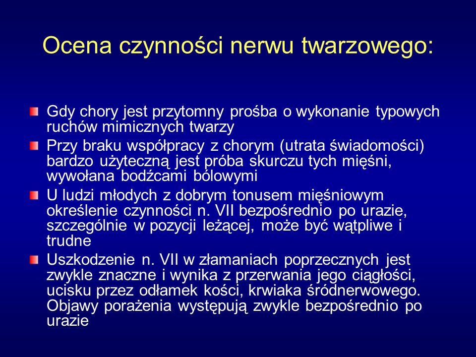 Ocena czynności nerwu twarzowego: Gdy chory jest przytomny prośba o wykonanie typowych ruchów mimicznych twarzy Przy braku współpracy z chorym (utrata świadomości) bardzo użyteczną jest próba skurczu tych mięśni, wywołana bodźcami bólowymi U ludzi młodych z dobrym tonusem mięśniowym określenie czynności n.