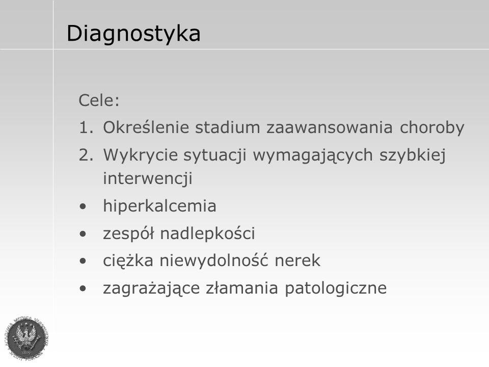 Diagnostyka Cele: 1.Określenie stadium zaawansowania choroby 2.Wykrycie sytuacji wymagających szybkiej interwencji hiperkalcemia zespół nadlepkości ciężka niewydolność nerek zagrażające złamania patologiczne