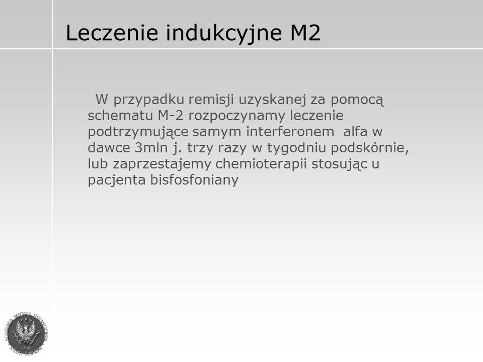 Leczenie indukcyjne M2 W przypadku remisji uzyskanej za pomocą schematu M-2 rozpoczynamy leczenie podtrzymujące samym interferonem alfa w dawce 3mln j.