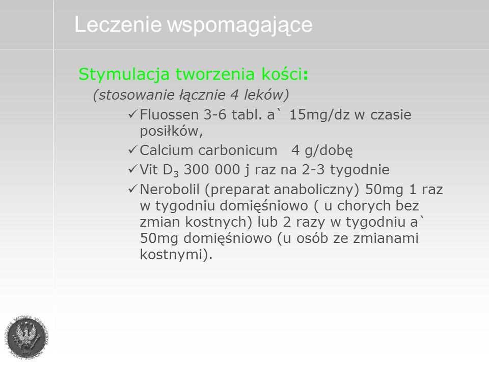 Stymulacja tworzenia kości: (stosowanie łącznie 4 leków) Fluossen 3-6 tabl.