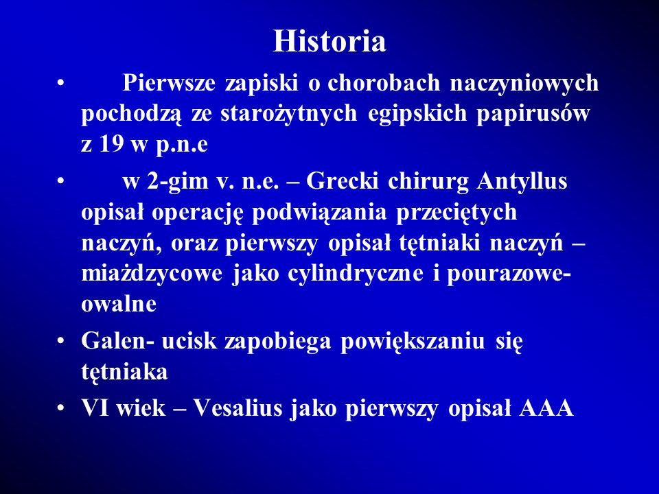 Historia Pierwsze zapiski o chorobach naczyniowych pochodzą ze starożytnych egipskich papirusów z 19 w p.n.e w 2-gim v. n.e. – Grecki chirurg Antyllus