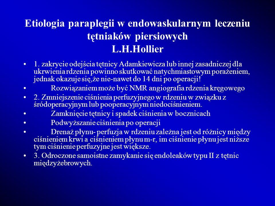 Etiologia paraplegii w endowaskularnym leczeniu tętniaków piersiowych L.H.Hollier 1. zakrycie odejścia tętnicy Adamkiewicza lub innej zasadniczej dla