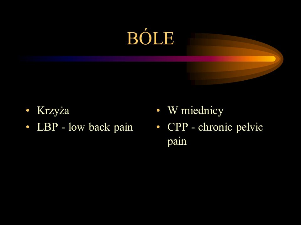 BÓLE Krzyża LBP - low back pain W miednicy CPP - chronic pelvic pain