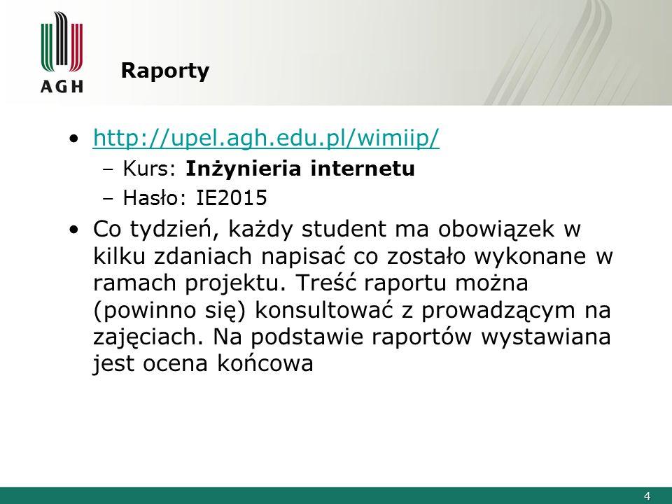 4 Raporty http://upel.agh.edu.pl/wimiip/ –Kurs: Inżynieria internetu –Hasło: IE2015 Co tydzień, każdy student ma obowiązek w kilku zdaniach napisać co zostało wykonane w ramach projektu.