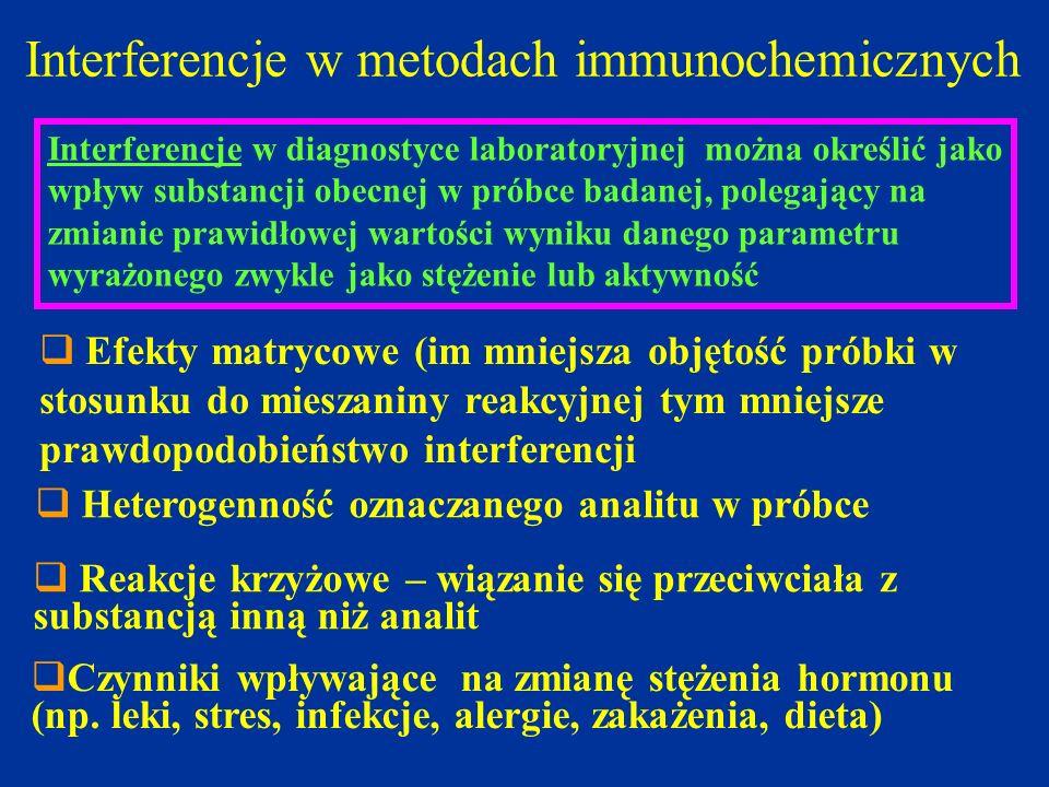 Interferencje w metodach immunochemicznych Interferencje w diagnostyce laboratoryjnej można określić jako wpływ substancji obecnej w próbce badanej, p