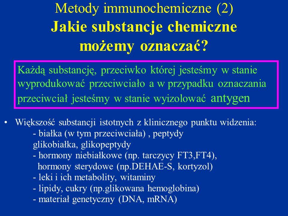 Metody immunochemiczne (2) Jakie substancje chemiczne możemy oznaczać? Większość substancji istotnych z klinicznego punktu widzenia: - białka (w tym p