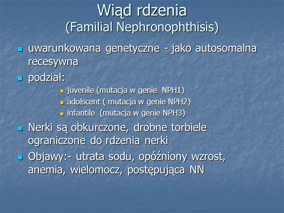 Wiąd rdzenia (Familial Nephronophthisis) uwarunkowana genetyczne - jako autosomalna recesywna uwarunkowana genetyczne - jako autosomalna recesywna pod