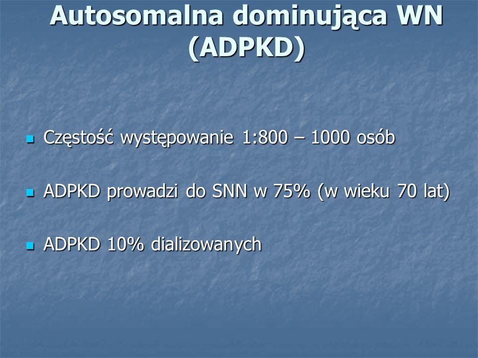 Autosomalna dominująca WN - Uwarunkowania genetyczne Typ I – mutacja w genie PKD-1 chromosom 16 ( >85%) Typ I – mutacja w genie PKD-1 chromosom 16 ( >85%) Typ II – mutacja w genie PKD-2 chromosom 4 (<15%) Typ II – mutacja w genie PKD-2 chromosom 4 (<15%) Inne geny - nieznane Inne geny - nieznane