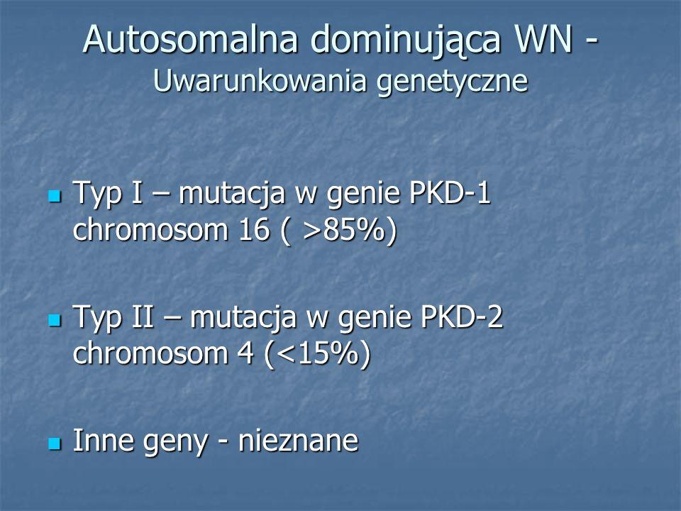 Autosomalna dominująca WN - Uwarunkowania genetyczne Typ I – mutacja w genie PKD-1 chromosom 16 ( >85%) Typ I – mutacja w genie PKD-1 chromosom 16 ( >