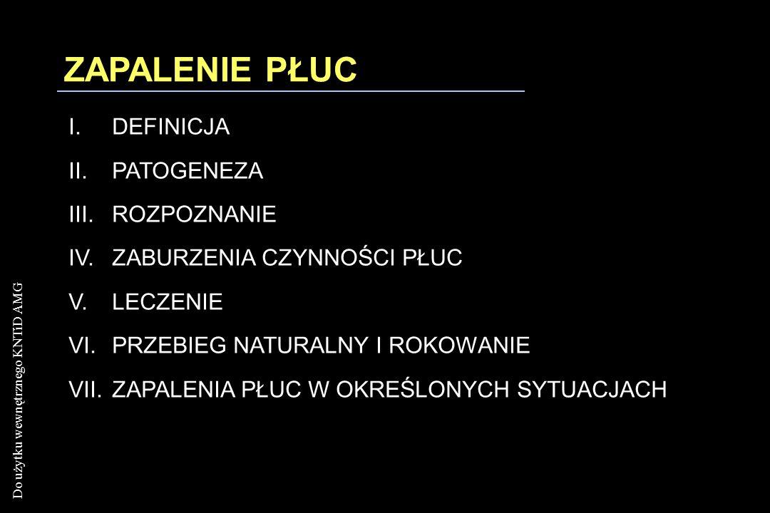 Do użytku wewnętrznego KNTiD AMG Bakteryjne zapalenie płuc: Legionella pneumophilla i jej podobne ROZPOZNANIE Zapalenie płuc bez wykrztuszania plwociny ZAPALENIE PŁUC Choroby płuc Miller & Kazemi