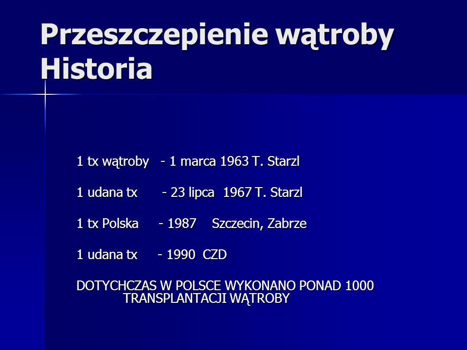 Przeszczepienie wątroby Historia 1 tx wątroby - 1 marca 1963 T. Starzl 1 udana tx - 23 lipca 1967 T. Starzl 1 tx Polska - 1987 Szczecin, Zabrze 1 udan