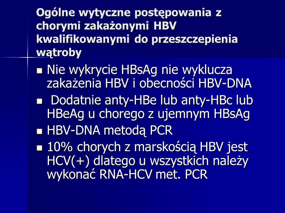 Ogólne wytyczne postępowania z chorymi zakażonymi HBV kwalifikowanymi do przeszczepienia wątroby Nie wykrycie HBsAg nie wyklucza zakażenia HBV i obecn