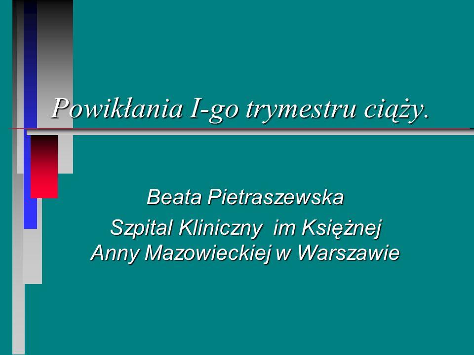 Powikłania I-go trymestru ciąży. Beata Pietraszewska Szpital Kliniczny im Księżnej Anny Mazowieckiej w Warszawie
