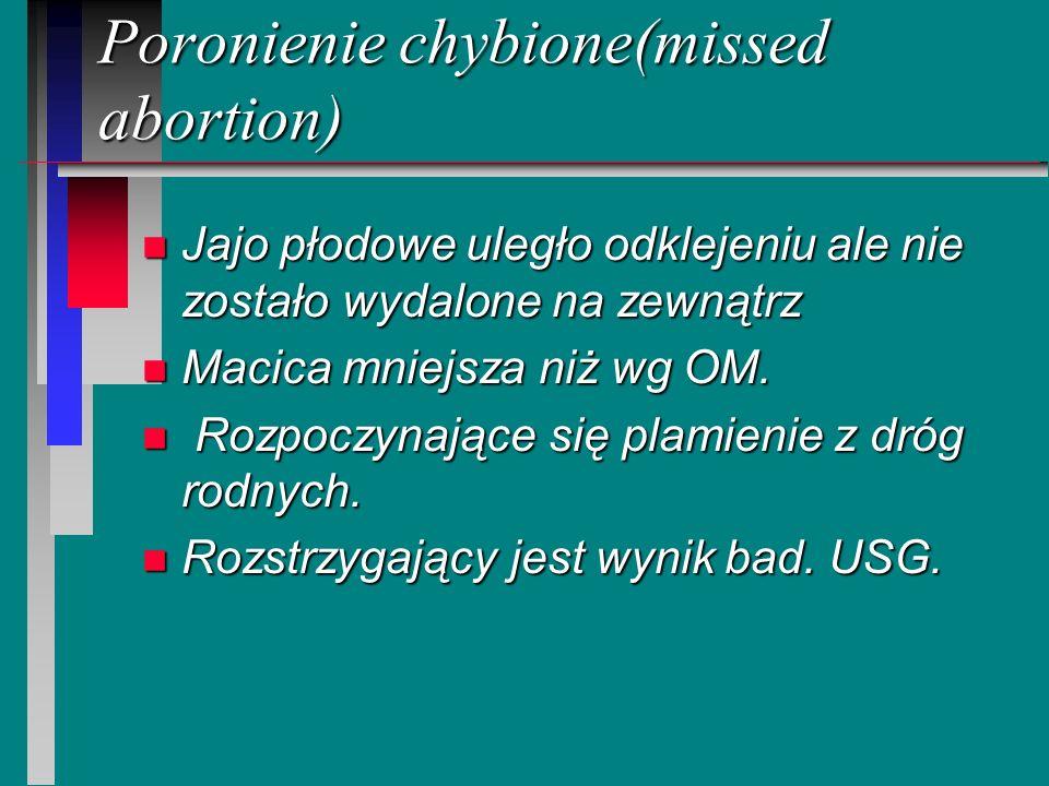 Poronienie chybione(missed abortion) n Jajo płodowe uległo odklejeniu ale nie zostało wydalone na zewnątrz n Macica mniejsza niż wg OM. n Rozpoczynają