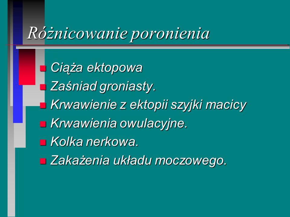 Różnicowanie poronienia n Ciąża ektopowa n Zaśniad groniasty. n Krwawienie z ektopii szyjki macicy n Krwawienia owulacyjne. n Kolka nerkowa. n Zakażen