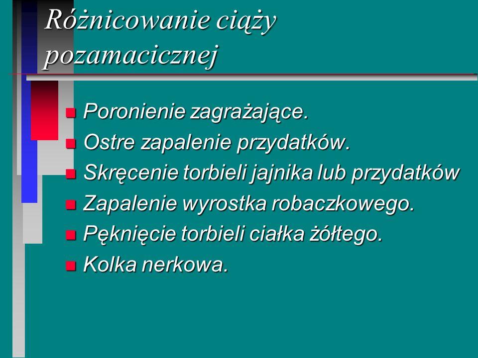 Różnicowanie ciąży pozamacicznej n Poronienie zagrażające. n Ostre zapalenie przydatków. n Skręcenie torbieli jajnika lub przydatków n Zapalenie wyros