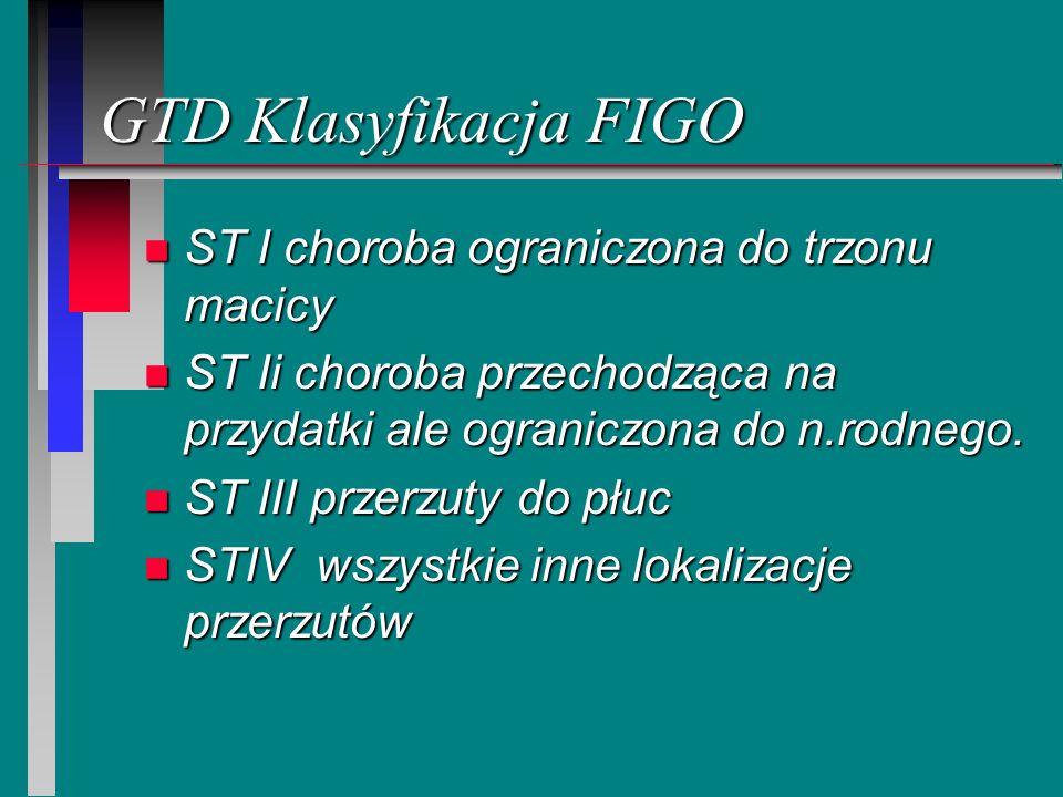 GTD Klasyfikacja FIGO n ST I choroba ograniczona do trzonu macicy n ST Ii choroba przechodząca na przydatki ale ograniczona do n.rodnego. n ST III prz