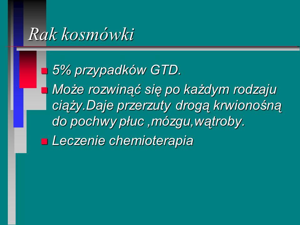 Rak kosmówki n 5% przypadków GTD. n Może rozwinąć się po każdym rodzaju ciąży.Daje przerzuty drogą krwionośną do pochwy płuc,mózgu,wątroby. n Leczenie