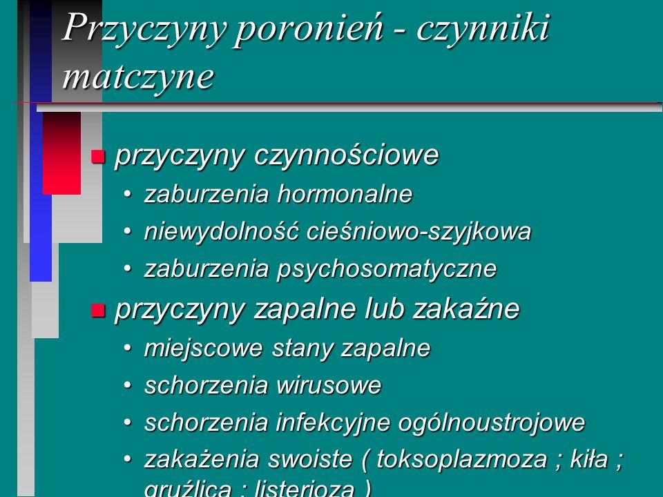 Przyczyny poronień - czynniki matczyne n przyczyny czynnościowe zaburzenia hormonalnezaburzenia hormonalne niewydolność cieśniowo-szyjkowaniewydolność