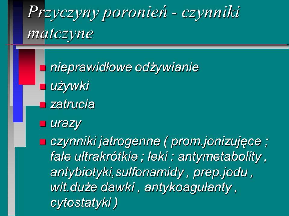 Przyczyny poronień - czynniki matczyne n nieprawidłowe odżywianie n używki n zatrucia n urazy n czynniki jatrogenne ( prom.jonizujęce ; fale ultrakrót