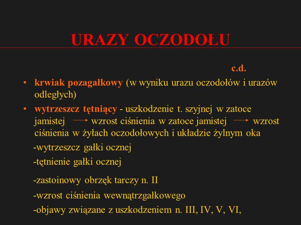 URAZY OCZODOŁU c.d.