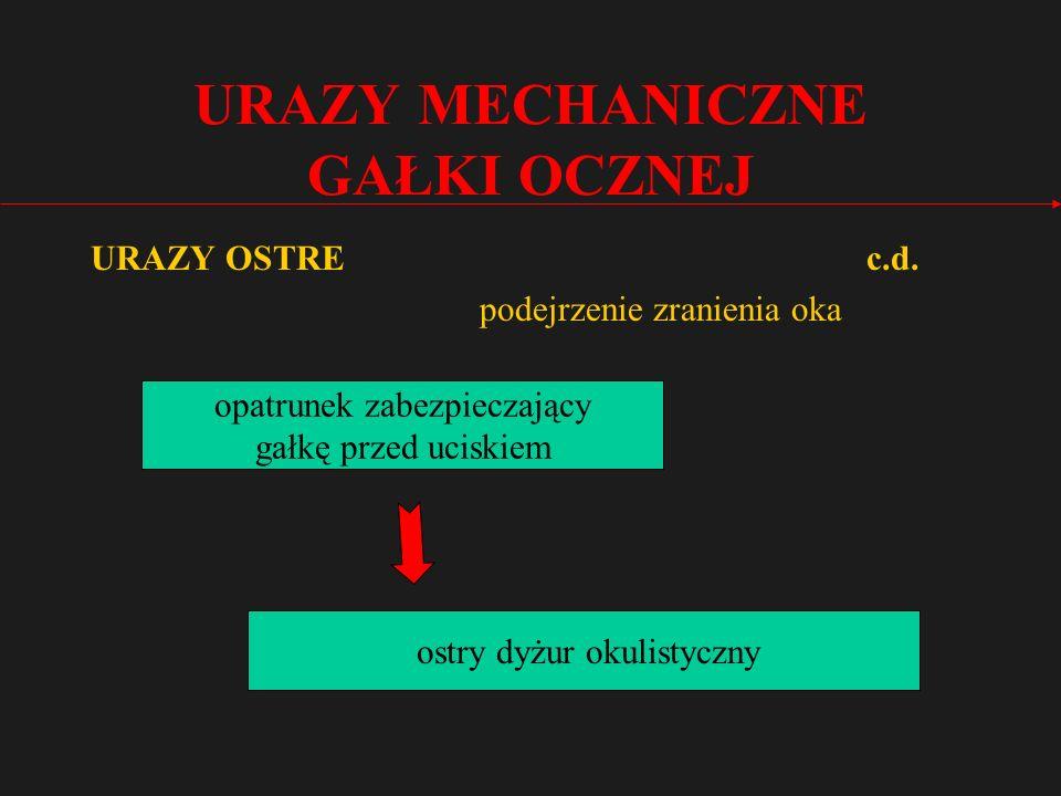 URAZY MECHANICZNE GAŁKI OCZNEJ URAZY OSTRE c.d.