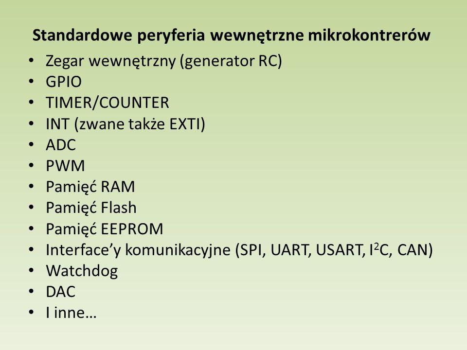 Standardowe peryferia wewnętrzne mikrokontrerów Zegar wewnętrzny (generator RC) GPIO TIMER/COUNTER INT (zwane także EXTI) ADC PWM Pamięć RAM Pamięć Flash Pamięć EEPROM Interface'y komunikacyjne (SPI, UART, USART, I 2 C, CAN) Watchdog DAC I inne…