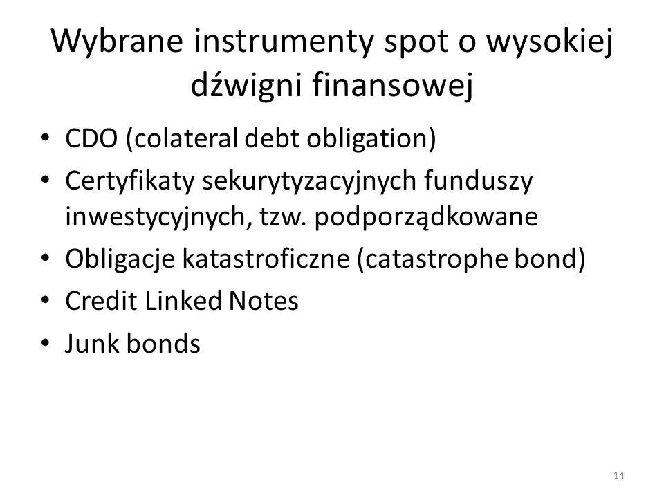 Wybrane instrumenty spot o wysokiej dźwigni finansowej CDO (colateral debt obligation) Certyfikaty sekurytyzacyjnych funduszy inwestycyjnych, tzw. pod